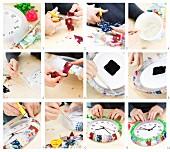 DIY-Wanduhr mit Stoffrand im Patchworkmuster, Pommelband und schmaler Borte