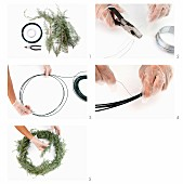 Making a wreath from wire and twigs
