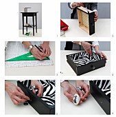 Instructions for refurbishing old drawer by painting it black and lining with zebra-print paper