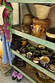 Open shelves of crockery