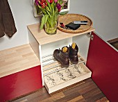 DIY shoe cabinet with boot rack above drip tray