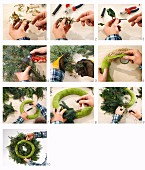 Instructions for tying an Advent wreath of fir branches decorated with holly berries, gilded ivy and pine cones