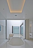 Designer bathtub below ceiling panel with indirect lighting in modern house with atrium