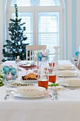 Festively set Christmas dining table