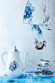 Still-life arrangement of blue and white china tea set