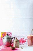 Indian still-life arrangement with tea