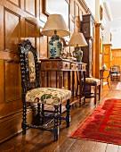 Antique furniture in grand hallway