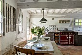 Rustic kitchen in farmhouse