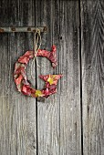 Letter G wrapped in autumn leaves and hung on board door