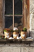 Winter planters hand-decorated with heart motifs on windowsill