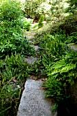 Gartenweg aus Steinplatten