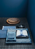 Japanese fabrics with various patterns in differing shades of blue