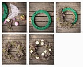 Instructions for making a wreath out of branches, flowers and Christmas baubles