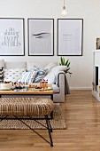 Black-framed graphic artwork in modern living room