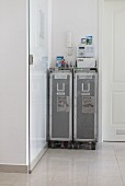 Two airline hostess trolleys in hallway