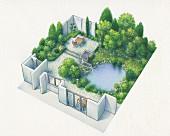 An axonometric plan of a garden