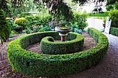 Spiral, half-height box hedge with bird bath
