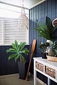 Zimmerpalme neben Holzpaddel und weißem Wandtisch vor blauer Holzwand