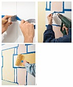 Instructions for decorating a wall with a woven effect using paint and masking tape