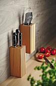 Hand-made knife block and kitchen utensil holder