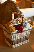 Knitting basket next to wicker chair