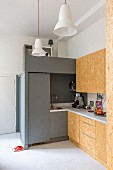 DIY kitchen with chipboard fronts