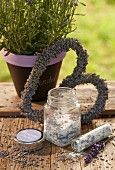 Heart-shaped wreath of lavender flowers and jar of lavender sugar