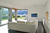 Modern living room with panoramic windows