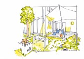 An illustration of a lighting concept for a terrace and a garden