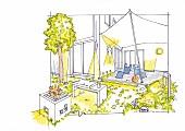 Illustration: Beleuchtungskonzept für Terrasse und Garten