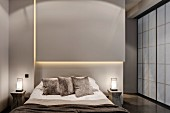 Indirect lighting above bed in grey bedroom with Shoji sliding doors