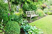 Wooden garden bench in herbaceous border in summery garden