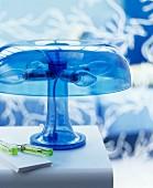 Blue transparent plastic lamp