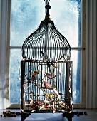 Dekovögel an nostalgischem Vögelkäfig mit Lichterkette