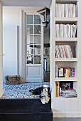Dog lying on steps next to masonry bookshelves