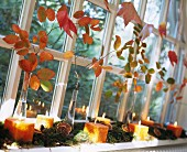 Autumn arrangement of moss, cubic candles and branches of colourful leaves on windowsill