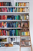 Books sorted by colour on bookshelves with rustic wooden step ladder