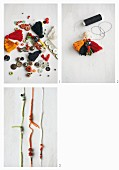 Instructions for making a necklace from cords, wooden beads and tassels