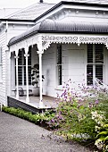 Victorian house with veranda and typical decoration