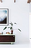 Retro sideboard with houseplant against white wall