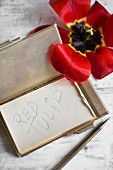 Notepad in elegant metal case, pen and overblown red tulip