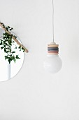 Pendant lamp hand-made from colourful curtain rings