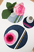 Round denim coasters decorated with colourful trims and ribbons
