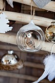 Christmas bauble with owl inside