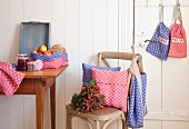Kitchen accessories hand-made from red and blue checked linen
