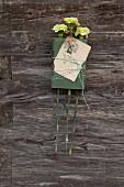 Buch und antikes Exlibris mit grünen Nelken, mit zweifarbigem Bändchen zusammengehalten