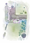A perspective plan of a property and plot