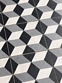 Tiles with 3D pattern of grey cubes