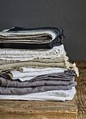 Stacked linen blankets