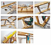 Instructions for building an L-shaped wall-mounted shelf from a ladder